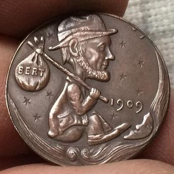 Hobo Nickel 1909 HAND CARVED Lincoln WHEAT Penny RARE COIN