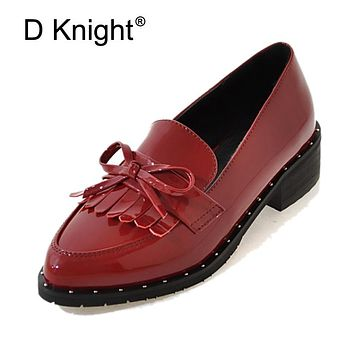 Tassel Bow Loafers Patent Leather Oxfords Shoes For Women Plus Size 31-44 Casual Creepers Slip On Flats Brogue Shoes Woman E49
