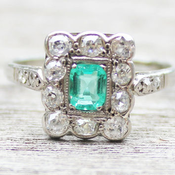 Art Deco 1920s Diamond and Emerald Engagement Rectangular Cluster Ring 18ct White Gold Old Cut Diamonds Cushion Cut