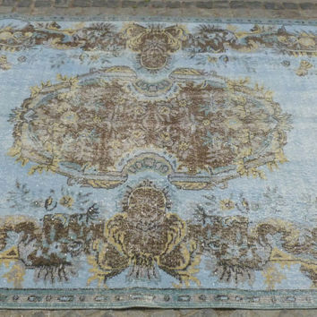 Light Blue overdyed area rug with Amazing Pattern, 9,5 x 5,9'