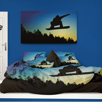 "Snowboard Comforter ""Snowboarder at Sunset"" from Extremely Stoked"