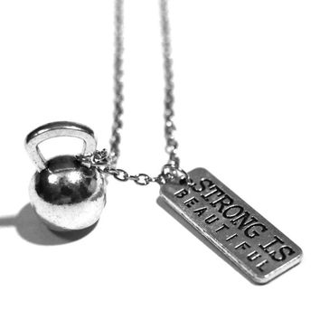 Strong Is Beautiful + Kettlebell Charm Necklace - Weightlifting Exercise Crossfit Fitness Charm Lifting Pendant Handmade Gift