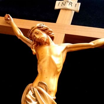 "Large 25"" Carved Crucifix for Wall or Altar"
