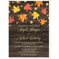 Falling Leaves with Gold Autumn Wedding Invitations