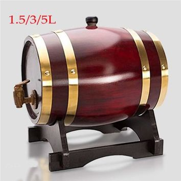 1.5L/3L/5L Wooden Timber Wine Oak Barrel - Whisky Rum Brewing Keg Contain