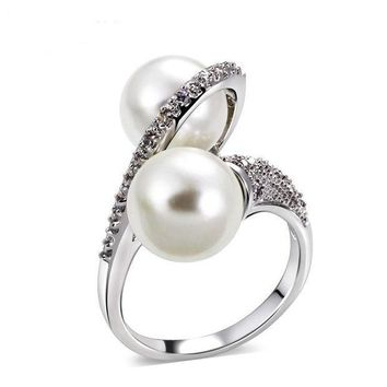 CREYKH7 Shell pearl micro inlaid zircon ring simple personality fashion ring