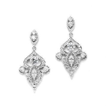 Intricate Art Deco CZ Dangle Bridal Statement Earrings
