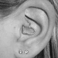 Black Heart Rook Ear Piercing Cartilage
