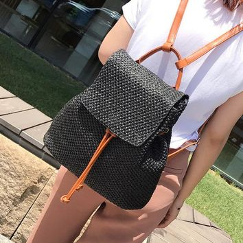 Straw Woven Double Shoulder Bag Chic Girls Holiday Beach Backpacks