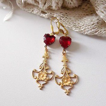 Ruby  Heart Earrings Heart Earrings Chandelier Earrings Red Brass Earrings  Victorian Style Earrings  Statement Earrings Gift for Her