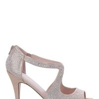 Rhinestone Platform Pump with Peep Toe and Center Cutout