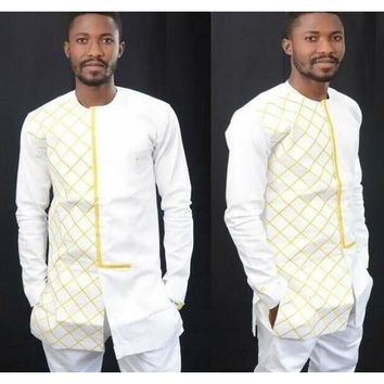African Clothing Long-sleeved Long Shirt Round Neck Hot Sales Dresses Restoring Ancient Ways Grid printing Men Clothes