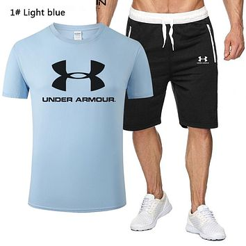 Under Armour New fashion letter print top and shorts two piece suit men 1# Light Blue