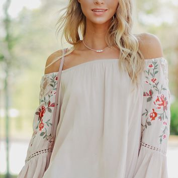 Embroidered Off The Shoulder Top Tan