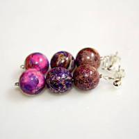 Summer in the City Earrings Pink and Purple Jasper with Sterling Silver by Mei Faith