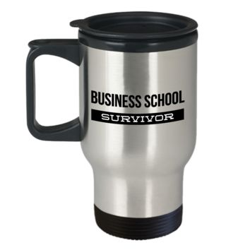 Business Student Travel Mug Gifts - Business School Survivor Stainless Steel Insulated Travel Coffee Cup with Lid
