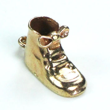 Vintage Gold Baby Bootie Charm 14k Yellow Gold Charm Baby Charm Baby Shoe Mothers Charm Baby Shower Gift New Baby Gift