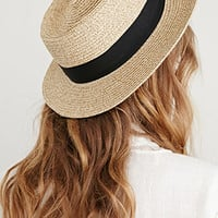 Straw Grosgrain-Ribbon Boater