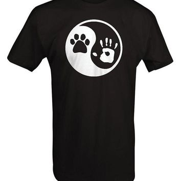 CREYXT3 Paw Hand Print Yin Yang Dog Animal Rescue Adopted Pet Lover T Shirt Men 2017 Summer Round Neck Men'S T-Shirt Top Tee