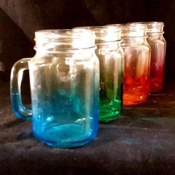 Colorful Mason Jar Drinking Glasses