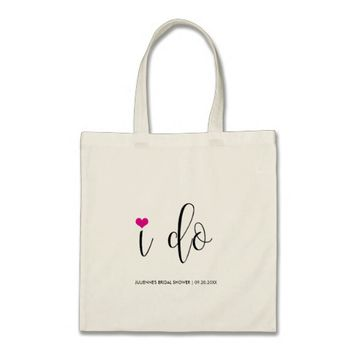 "Hot Pink ""I do"" Bridal Shower Tote"