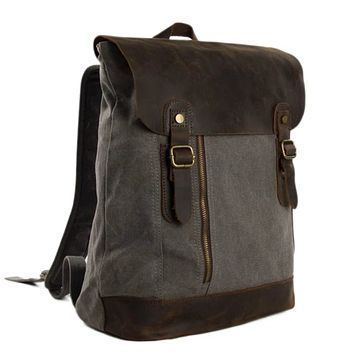 Waxed Canvas and Leather Casual Backpack - Dark Grey