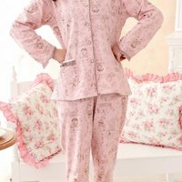 Hearth and Home Vintage Print Pajama Set in Pink/Brown | Sincerely Sweet Boutique