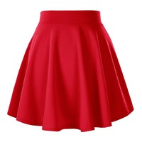 Women's Basic Solid Versatile Stretchy Flared Casual Mini Skater Skirt (X-Large, Red)