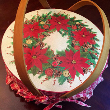 Beautiful Vintage Christmas Woven Wooden  Basket, Plaid Fabric Inside, Poinsettia Design, Wood Handles.