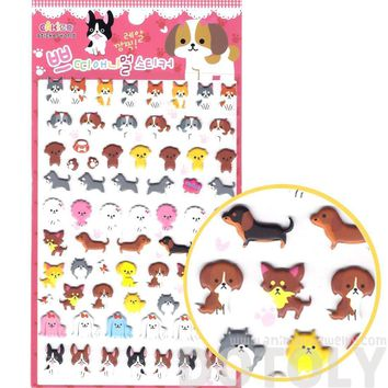 Husky Frenchie Dachshund Schnauzer Dog Shaped Animal Themed Puffy Stickers