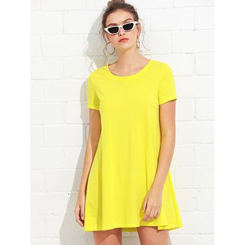Short Sleeve Basic Shift Dress Yellow