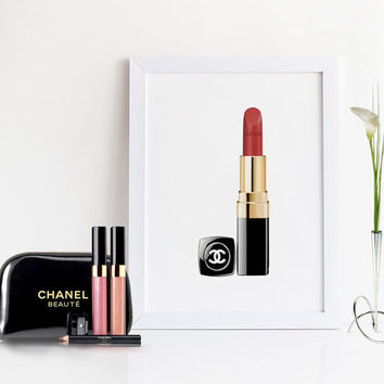 COCO CHANEL LIPSTICK,Makeup Bathroom Art,Fashion Print,Gift For Her,Gift For Wife,Chanel Wall Art,Makeup Art,Fashionista,Girly Print,For Her