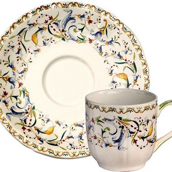 Gien Toscana Espresso Cup and Saucer-Set of 2
