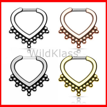 Beaded Trim IP 316L Surgical Steel Septum Clicker 16g Earring 14g  Cartilage Piercing Tragus Helix Conch Nose Septum Ring - Sold by Piece