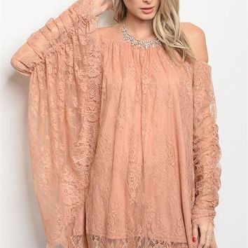 Lace Dress Off Shoulder Bat Wing Sleeves