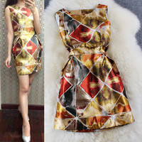 Patterned Print Sleeveless A-Line Pleat Dress