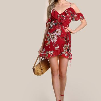 Floral Print Ruffle Hem Wrap Dress RED | MakeMeChic.COM