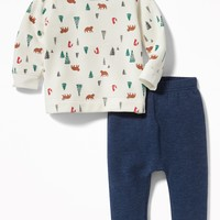 Printed Sweatshirt & Fleece Pants Set for Baby|old-navy