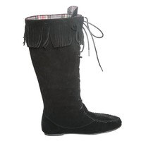 Lace Up Moccasin Knee High Boot