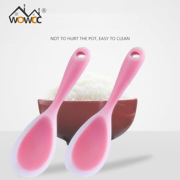 WOWCC 1pc Non Stick Rice Spoon Creative Silicone Spoon Sushi Scoop Household Kitchen Accessories Cooking Tools