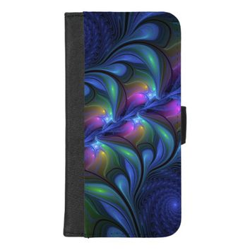 Colorful Luminous Abstract Blue Pink Green Fractal iPhone 8/7 Plus Wallet Case