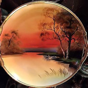 Noritake Porcelain Hand Painted Double Handle Red/Yellow Sunset Plate