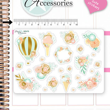 Flower Stickers Spring Stickers Vase Stickers Planner Stickers Erin Condren Functional Stickers Decorative Stickers NR478