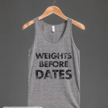 Weights Before Dates-Unisex Athletic Grey Tank