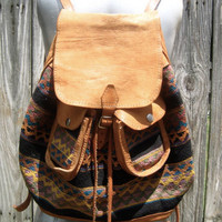 Vintage Leather Woven Southwestern Backpack