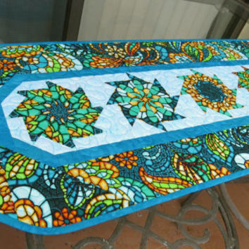 Table Runner Quilted Art Glass Turquoise 619