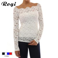 Rogi Women Blouses Spring Fashion White Lace Blouse Shirt Off Shoulder Long Sleeve Chiffon Shirt Blusas Femininas Tops Plus Size