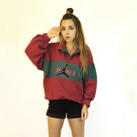 Sweatshirt top 80s / Nike pullover / Air Jordan sweatshirt / Sport sweatshirt / Nike long sleeve polo