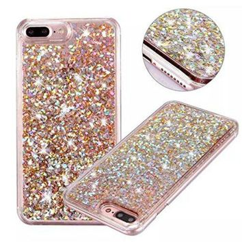 DCCKV2S iPhone 7 Plus Glitter Case, NOKEA hard Rubber Flowing Liquid Floating Luxury Bling Glitter Sparkle Flexible Protective Shell Bumper Case Cover for iPhone 7 Plus 5.5inch (Rose Gold#6)