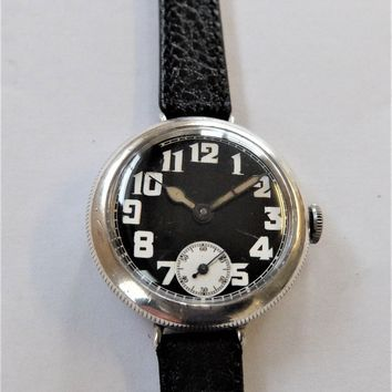 1915 SILVER SCREW CASED ROLEX 15 JEWELLED OFFICERS TRENCH WRIST WATCH WORKING